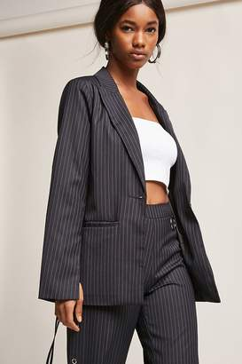 Forever 21 Pinstripe Lace-Up Blazer
