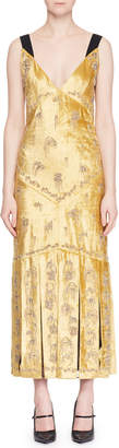 Erdem Palmer Sleeveless Beaded-Embroidered Velvet Cocktail Dress w/ Pleated Hem
