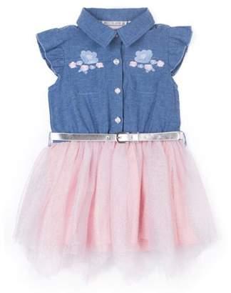 Little Lass Chambray Ruffle Sleeve and Tulle Dress (Little Girls)