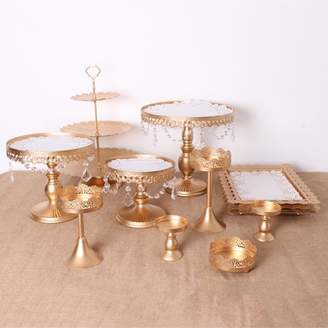Moaere 7/10/12Pcs Antique Cake Stand Round Glass Plate Metal Dessert Cupcake Pedestal Wedding Party Display with Crystals