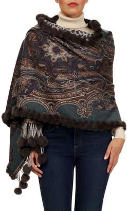 Gorski Double-Face Cashmere Stole w/ Rabbit Fur Whipstitch & Pompoms, Gray/Green