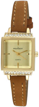 Peugeot Womens Brown And Gold Tone Petite Crystal Accent Suede Strap Watch 3047G