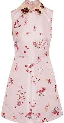 RED Valentino Embellished Satin-trimmed Floral-print Faille Mini Dress