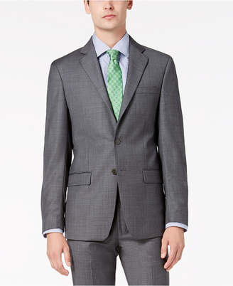 Calvin Klein Men's Slim-Fit Stretch Gray Sharkskin Suit Jacket