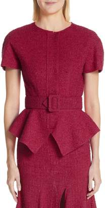 Oscar de la Renta Belted Peplum Wool Blend Tweed Jacket