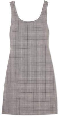 Ganni Checked Stretch-woven Mini Dress - Gray