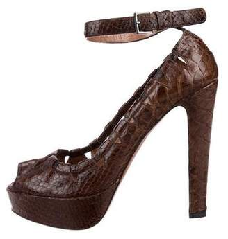 Alaia Snakeskin Ankle-Strap Pumps