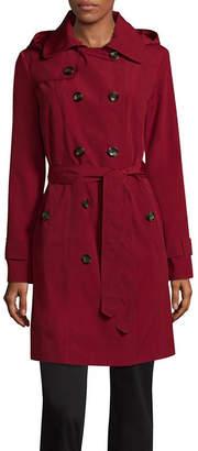 Liz Claiborne Hooded Belted Water Resistant Lightweight Raincoat