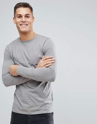 Asos DESIGN longline crew neck t-shirt with long sleeves