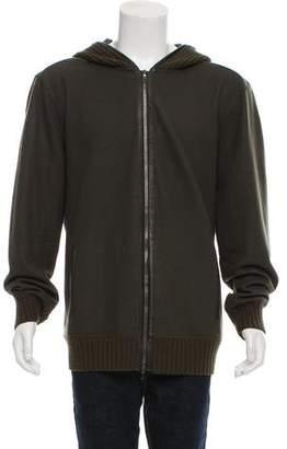 John Varvatos Leather-Trimmed Wool Cardigan