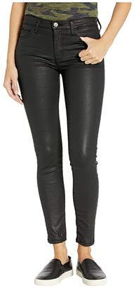 Current/Elliott High-Waist Ankle Skinny in Black Coated