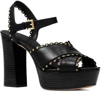 6eed7d433ed MICHAEL Michael Kors Women s Jessie Scalloped Leather Platform Block Heel  Sandals