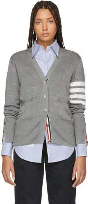 Thom Browne Grey Silk 4-Bar Cardigan