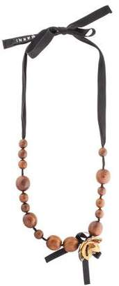 Marni Horn Lotus Flower & Wood Beaded Necklace