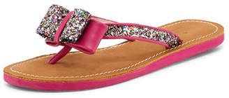 Kate Spade Icarda Glitter Bow Flat Thong Sandal, Pink Multi