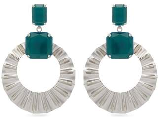 Isabel Marant Stone Hoop Drop Earrings - Womens - Green