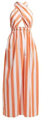 Mara Hoffman Rosario Striped Cotton Halterneck Dress - Womens - Orange White