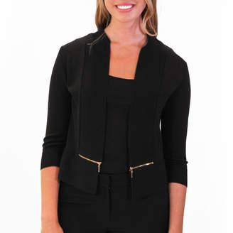 NINA LEONARD Nina Leonard 3/4 Sleeve Knit Bolero With Zipper