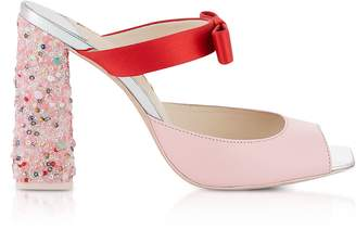 Sophia Webster Red Satin and Pink Leather Andie Mules