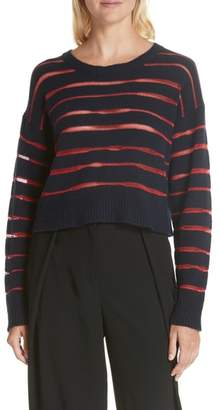 Rag & Bone Penn Sheer Stripe Crop Sweater