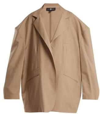 BEIGE Edward Crutchley - Oversized Notch Lapel Wool Blend Blazer - Womens