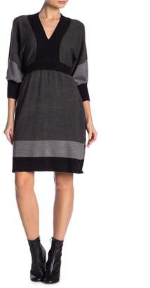 Connected Apparel Colorblock Dolman Sleeve Sweater Dress