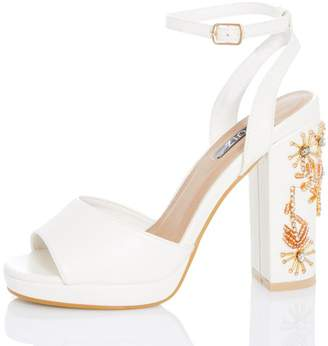 Quiz White Jewel High Heel Sandals
