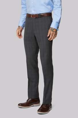 Moss Bros Wool Rich Machine Washable Grey Windowpane Trousers