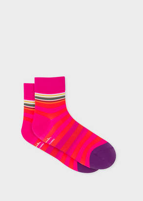 Paul Smith Mens Pink And Red Stripe Cycling Socks