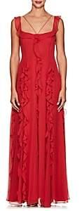 Prabal Gurung Women's Ruffled Silk Chiffon Gown - Cardinal