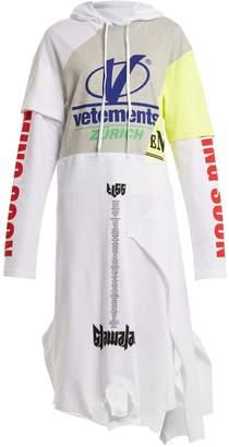 Vetements Hooded contrast-panel cotton sweatshirt dress