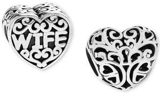 Rhona Sutton 2-Pc. Wife & Keyhole Heart Bead Charms in Sterling Silver