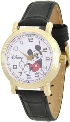 DISNEY Disney Collection Womens Mickey Mouse Black Leather Strap Watch $49.99 thestylecure.com