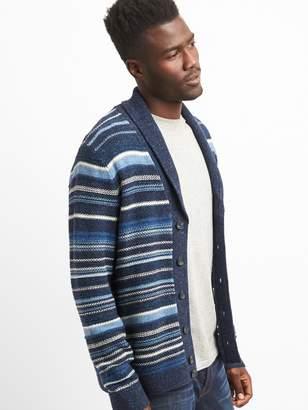 Gap Stripe Shawl-Collar Cardigan Sweater