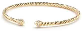 David Yurman Cable Spira Bracelet in 18K Gold with Diamonds, 3mm