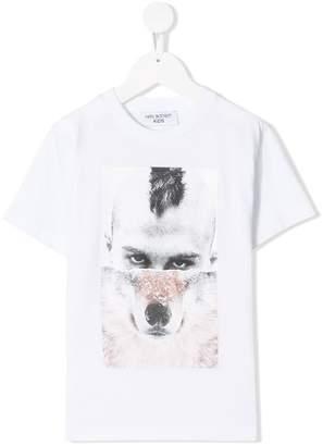 Neil Barrett Kids 'Wolf Man' print T-shirt