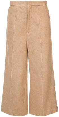 Y's wide-legged tailored cropped trousers
