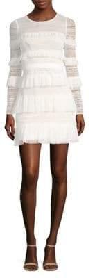BCBGMAXAZRIA Long-Sleeve Tiered Ruffle Dress