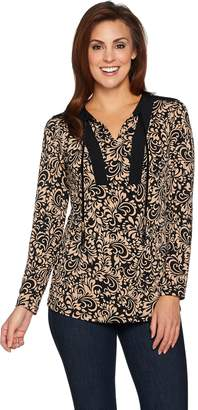 Susan Graver Printed Liquid Knit Tunic with Beaded Tassels