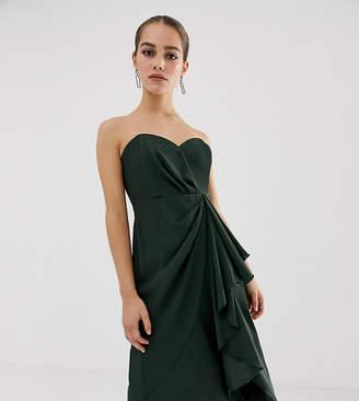 Asos DESIGN Petite structured bandeau midi dress with drape front