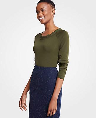 3bd9fe7c98 Ann Taylor Petite Scalloped Sweater