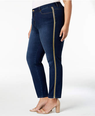 Charter Club Plus Size Varsity-Stripe Tummy-Control Jeans, Created for Macy's
