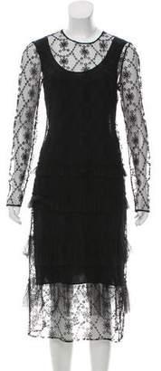 Burberry Semi-Sheer Midi Dress w/ Tags