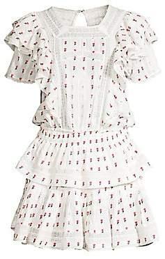 LoveShackFancy Women's Marissa Floral Tiered Ruffle Eyelet A-Line Dress
