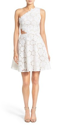 Women's Bliss Monique Lhuillier Guipure Lace One Shoulder Fit & Flare Dress $2,980 thestylecure.com