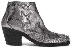 McQ Embellished Metallic Cracked-Leather Ankle Boots