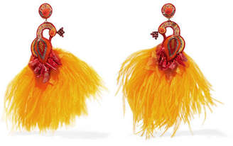 Ranjana Khan Passerine Feather And Crystal Clip Earrings - Yellow