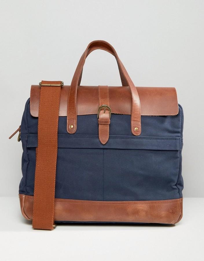 TimberlandTimberland Leather Trim Briefcase Navy