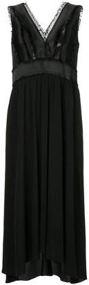 Jil Sander Navy fringe-trimmed pleated midi dress