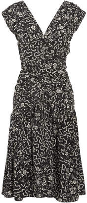 Isabel Marant - Glory Ruched Printed Silk-blend Dress - Black $1,090 thestylecure.com